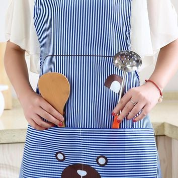 Home kitchen cute apron cooking waist print bear fashion apron Korean hanging neck gown