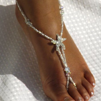 Bridal Foot Jewelry Rhiestone Starfish Barefoot sandals Foot Jewelry Anklet