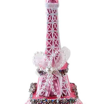"""Katherine's Collection 6"""" Glass Eiffel Tower Paris Pink & White Christmas Ornament"""