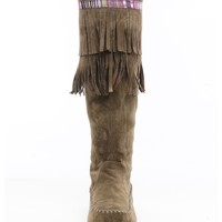 Sora Fringed Suede Knee High Boots | $20.00 | Cheap Trendy Boots Chic Discount Fashion for Women |