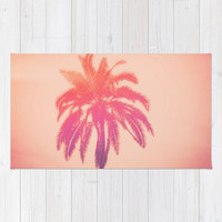 Salmon Palm - Beach Towel, Pink Ombre Style Boho Accent, Surf Hippie Chic Palm Tree Print, Summer Essential Beach Blanket Throw. 36x72 inch