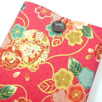 Gorgeous Fabric Macbook Sleeve, Unique gift Ideas, Padded Macbook Covers, Japanese Kimono Cotton Fabric Mari-balls Flowers Pink