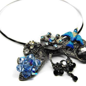 BLUEBIRD OF PARADISE-Necklace And/Or  Pin-Designed With Vintage Repurposed Jewelry