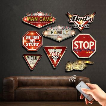 Man Cave Remote Controller LED Neon Sign Garage Bar Cafe Club Home Decor Wall Painting Illuminated Hanging Metal Signs YN083