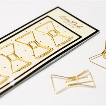 Kawaii Gold Bow Paper Clips/ Planner Clips