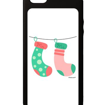 Cute Mr and Mr Christmas Couple Stockings iPhone 5C Grip Case  by TooLoud