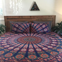 Bohemian Ombre Indian King Size Bedding 3 Piece Set Mandala Boho King Bedspreads Tapestry and 2 Pillow Cases - Free Shipping