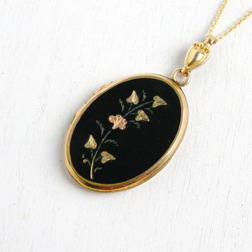Vintage Flower Locket Necklace- 1940s Gold Filled WWII Era Sweetheart Floral Black Pendant Jewelry with Photographs