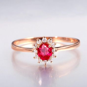 2017 Promotion Sale Classic Wedding Rings For Women 18k Rose Prong Setting Natural Burmese Ruby Jewelry Cluster Finger