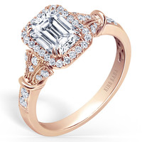 "Kirk Kara ""Lori"" Emerald Cut Diamond Halo Engagement Ring"