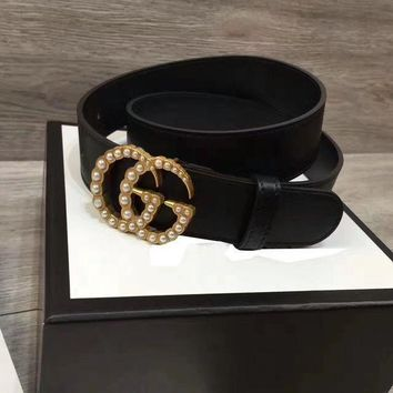 GUCCI Fashion Woman Fashion Smooth Buckle Leather Belt Black G