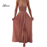 Summer Women Sexy v-neck backless Long  Dresses 2016  Elegant Casual Pleated Chiffon Maxi Dress Vestido de festa