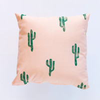 14x14 Green and Peach Cactus Print Pillow, cotton and linen