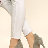 Jessica Simpson Crampell Stone Grey Suede Leather Pumps
