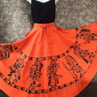 Mexican skirt / 1950s / handpainted skirt