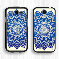 Samsung Elegant flowers case,blue flower GALAXY Note3 case,art flower GALAXY Note2 case,mandala Galaxy S4 case,Galaxy S3 case,Galaxy S5 case