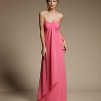Elegant Floor Length Strapless bridesmaid Dress with pleated detail and Floaty Chiffon Overlay - Basadress.com