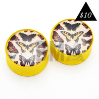 Vintage Butterly Illustrations BMA Plugs (6mm-25mm)