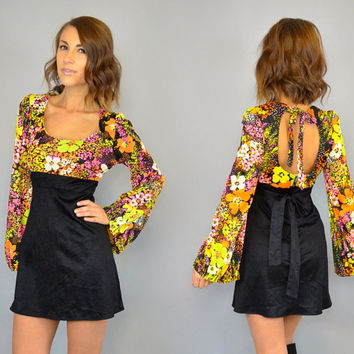 vtg 60's NEON FLORAL bohemian hippie mod BABYDOLL mini dress, extra small