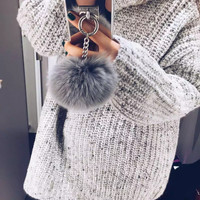 Pom Pom Fur Ball Chain Mirror Protective Case For iPhone 6, 6s, 6 Plus, 6s Plus