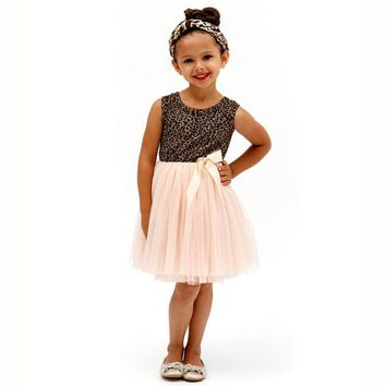summer Baby Girls dresses Cotton Blended Gauze kid mini Ball Gown dress Leopard Bowknot Printing Sleeveless o neck clothing 2-6Y