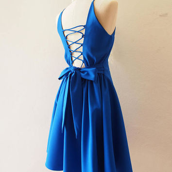 Cross Rope Backless Party Dress Royal Blue Dress Blue Bridesmaid Prom Cocktail Special Occasion Dress Short Evening Dress La La Land Blue