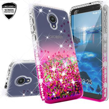 Alcatel 1x Evolve Case Liquid Glitter Phone Case Waterfall Floating Quicksand Bling Sparkle Cute Protective Girls Women Cover for 1x Evolve - Hot Pink
