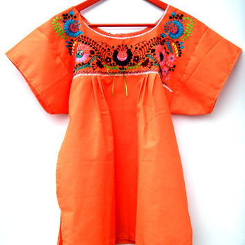 Embroidered peasant blouse Women' s mexican top Ladies orange blouse with flowers, sequins and ribbon Boho-chic Hippie M/L