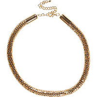 River Island Womens Gold tone tube necklace