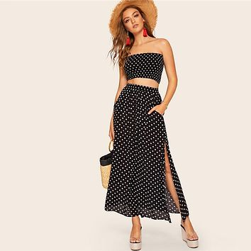 Polka Dot Shirred Bandeau Top And Maxi Skirt Set