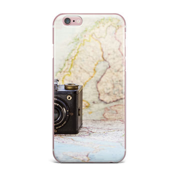"Debbra Obertanec ""Travel Time"" Black Beige iPhone Case"