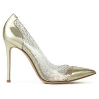 Gianvito Rossi Metallic Leather and PVC Pumps - Gold Pumps - ShopBAZAAR