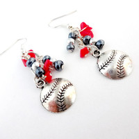Boston Strong, Champions, Red and Blue Baseball Earrings, Handmade