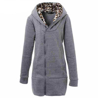 Fashion Womens Leopard Printed Zipper Up Hooded  Grey Coat Womens Outwear