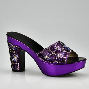 New Arrival Purple Color African Wedding Women Shoes Larges Size 43 Italy Design Elegant Women Party Shoes Summer Slippers Shoes