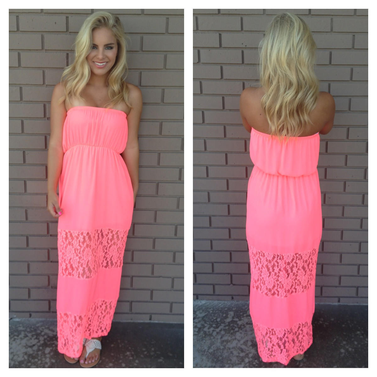 Pink Strapless Maxi Dress