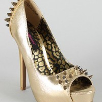 Dollhouse Striker Leatherette Studded Spike Platform Pump
