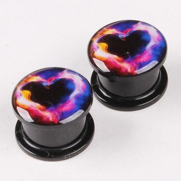 Acrylic Ear Expansion Color Heart Body Piercing Black Stud Earrings Reamer