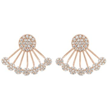 Rose Gold Over Sterling Silver CZ Disc Ear Jackets