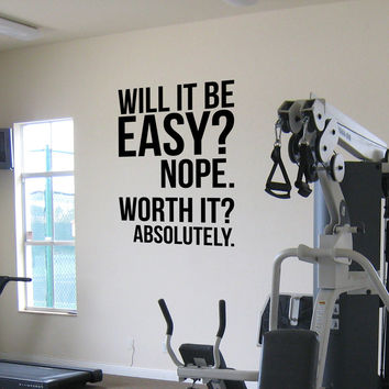 Will it be easy. Nope. Worth it - Absolutely. Wall Fitness Decal Quote Gym Kettlebell Crossfit Boxing Vinyl Wall Sticker