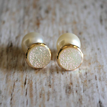 Iridescent Druzy & Pearl Back Earring