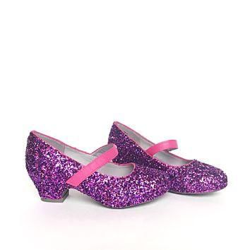 Hot Pink & Purple Glitter Girls Heels, Flower Girl Shoes