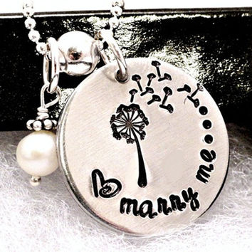 Hand Stamped Necklace - Wedding Proposal - Personalized Jewelry