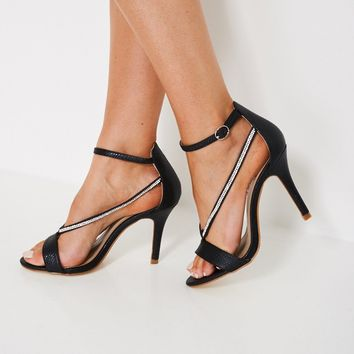 Snakeskin Strappy Heeled Sandals