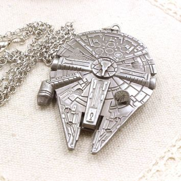 Millennium Falcon Star Wars Jewelry Vintage Silver Metal Fighter Plane Pendant Necklace Movie Gothic Style Chain Necklace Mens