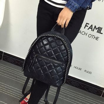 Triple Stone Chain Luxury Brand Design Women Leather Backpack Plaid Embossed Girls School Back bag College Students Shoulder Bag
