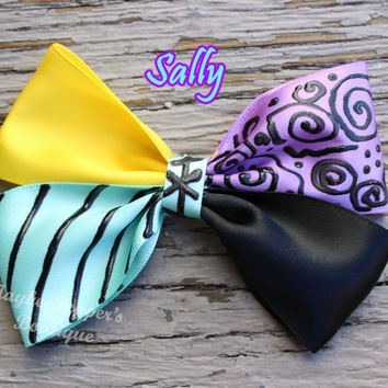 Nightmare before christmas hair bow Sally hair bow Sally hair clip girls cute ragdoll character inspired