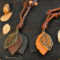 Vintage Women's Leather Leaf Pendant Necklace