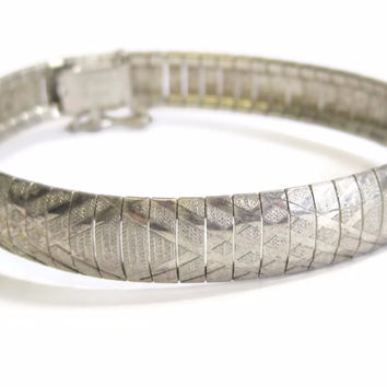 Vintage Italian Flexible Sterling Snake Bracelet 10mm 7 Inches