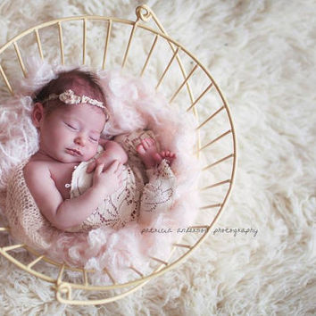 Newborn Vintage Lace Strapless Romper with Tie Back.  Lace, Romper, Shabby Chic, Strapless, Baby, Photography Prop